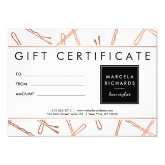 Chic Rose Gold Bobby Pins Hair Stylist Gift Card 11 Cm X 16 Cm Invitation Card