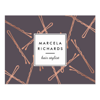 Chic Rose Gold Bobby Pins Hair Stylist Gray Postcard