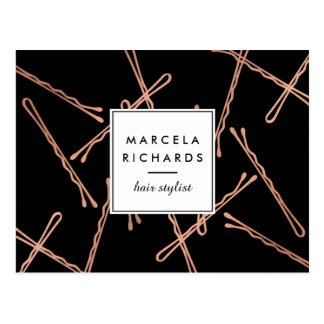Chic Rose Gold Bobby Pins Hair Stylist Salon Black Postcard