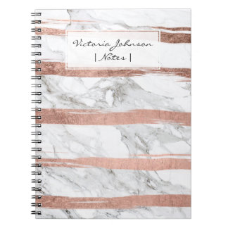 Chic rose gold brush strokes stripes white marble spiral note books