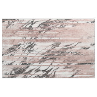 Chic Rose Gold Brushstrokes on Black White Marble Fabric