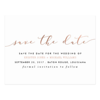 Chic Rose Gold Calligraphy Save the Date Postcard