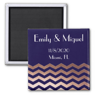 Chic Rose Gold Chevron Wedding Favor Save the Date Square Magnet
