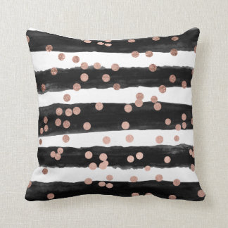 Chic rose gold confetti black watercolor stripes throw pillow