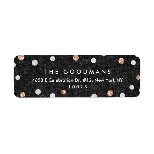 Chic Rose Gold Confetti Dots Return Address Labels