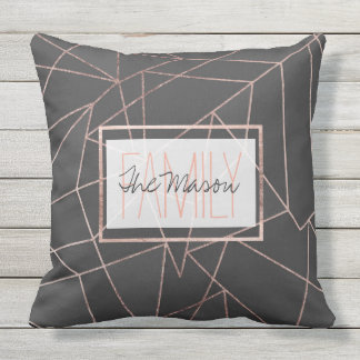 Chic Rose Gold Geo Outline Black Charcoal Monogram Outdoor Cushion
