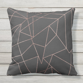 Chic Rose Gold Geometric Outline on Black Charcoal Outdoor Cushion
