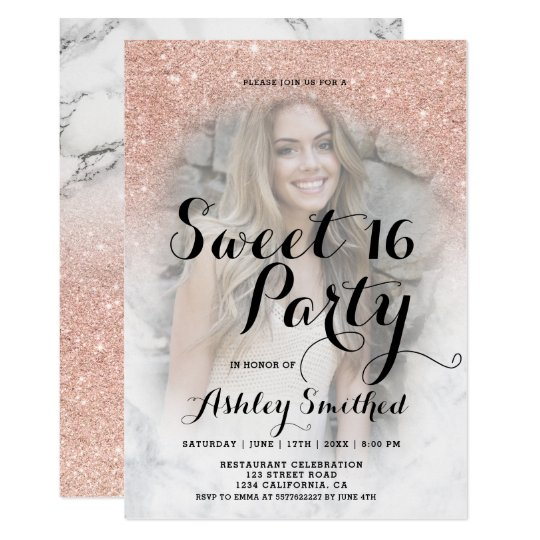 Chic rose gold glitter marble ombre photo Sweet 16 Card