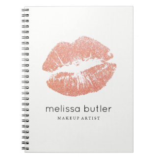 Chic Rose Gold Lips Makeup Artist Spiral Notebook