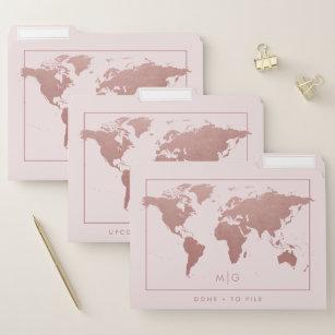 Chic Rose Gold Pink World Map File Folder