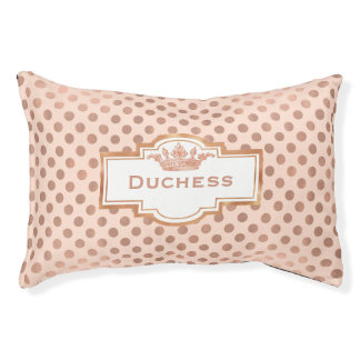Chic Rose Gold Polka Dots Custom Pet Bed