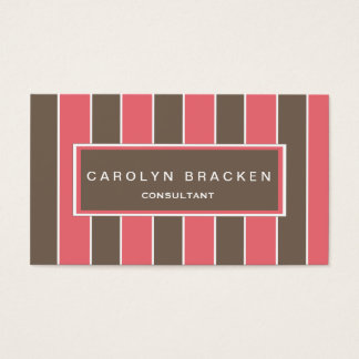 Chic Rose Gray White Stripes Business Card