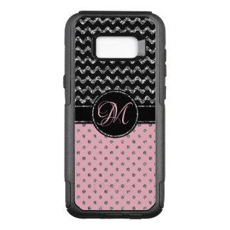 Chic Rose Silver Glitter Black Chevron Monogrammed OtterBox Commuter Samsung Galaxy S8+ Case