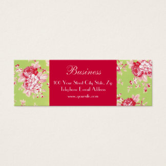 Chic Roses Skinny Green Business Card 2