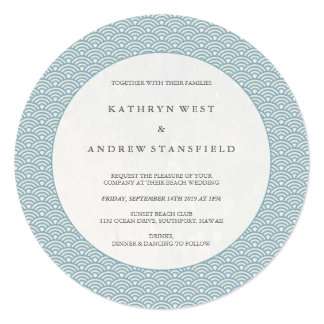Chic Round Blue Waves Pattern Wedding Invitation