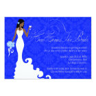 Chic Royal Blue Silver Damask Here Comes the Bride Card