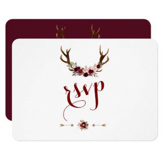 Chic Rustic Burgundy Marsala Floral Antlers RSVP Card