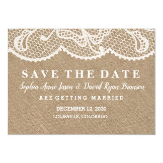 CHIC Rustic Burlap Lace Wedding SAVE THE DATE Card