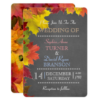 Chic Rustic Fall Leaves Chalk Wedding Invitation