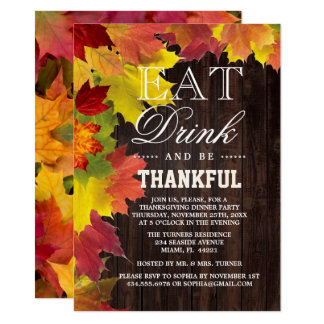 Chic Rustic Fall Old Wood Barn Thanksgiving Invite