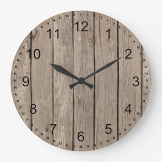 Chic Rustic Faux Wood Wall Clock