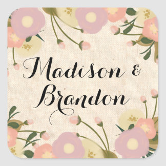 Chic Rustic Watercolor Floral Custom Wedding Square Sticker