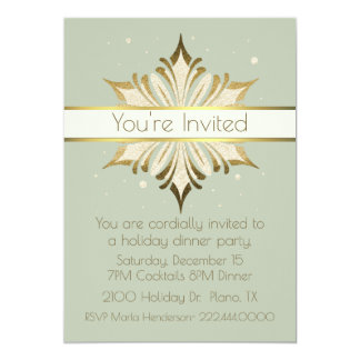 Chic Sage Green and Gold Holiday Party Invitation