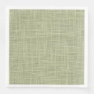 Chic Sage Herb Green Faux Jute Fabric Pattern Disposable Serviette