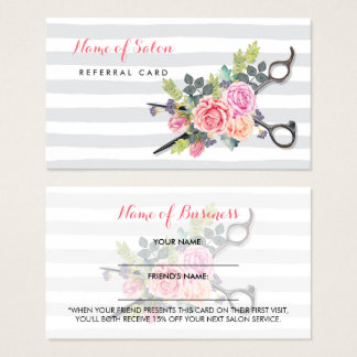 Chic Scissors Stripes and Roses Friend Referral
