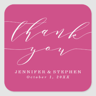 Chic Script | Wedding Thank You Square Sticker