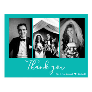 Chic Script Wedding Thank You   Tiffany Blue Postcard