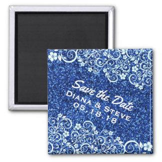 Chic Scrolls Blue Glitter Wedding | Save the Date Magnet