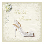 Chic Shoe & Bouquet Bridal Shower Custom Invitations