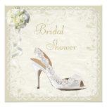 Chic Shoe & Bouquet Bridal Shower Custom Invitations