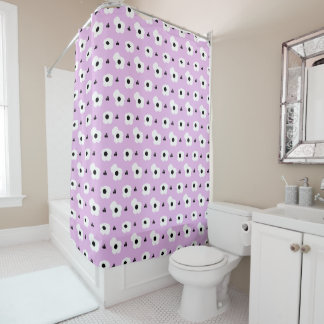 CHIC SHOWER CURTAIN_FUN GIRLY FLORAL ON LILAC SHOWER CURTAIN