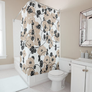 CHIC SHOWER CURTAIN_MODERN HAZELNUT/BLACK FLORAL SHOWER CURTAIN