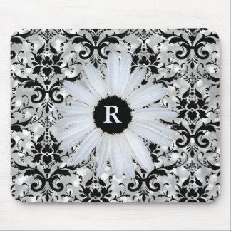 Chic Silver Bokeh Black Damask | Monogrammed Daisy Mouse Pad