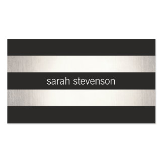 Chic Silver Foil Look Black Striped Modern Pack Of Standard Business Cards