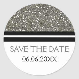 Chic Silver Glitter Save The Date Classic Round Sticker