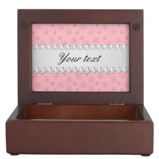 Chic Silver Glitter Snowflakes Pink Keepsake Box
