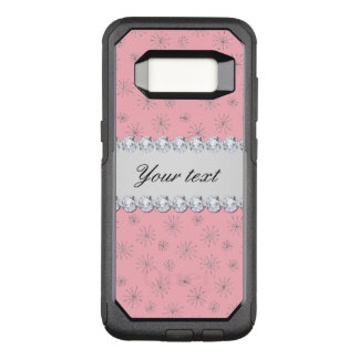 Chic Silver Glitter Snowflakes Pink OtterBox Commuter Samsung Galaxy S8 Case