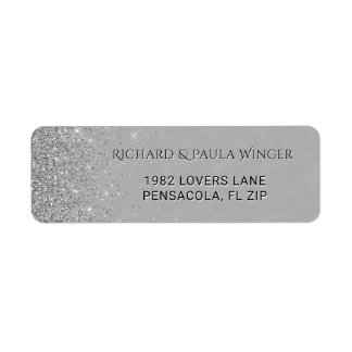 Chic Silver Glitter Sparkle Glam Gray Return Address Label