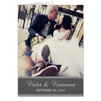 CHIC SILVER GRATITUDE   FOLDED WEDDING THANK YOU CARD