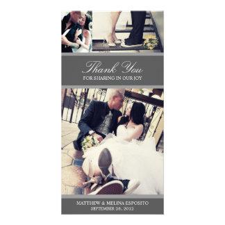 CHIC SILVER GRATITUDE | WEDDING THANK YOU CARD PHOTO CARD TEMPLATE
