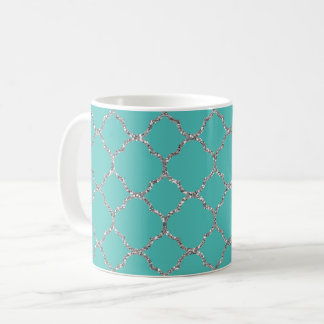 Chic Silver Quatrefoil Teal White Coffee Mug