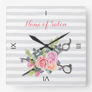 Chic Silver Scissors Hair Salon Stripes and Roses Square Wall Clock