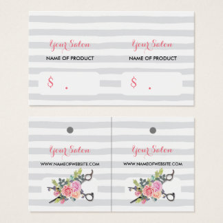 Chic Silver Scissors Stripes and Roses Hang Tags Business Card