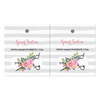 Chic Silver Scissors Stripes and Roses Hang Tags Pack Of Standard Business Cards