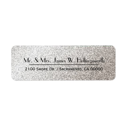 Chic Silver Sparkle Custom Return Address Return Address Label