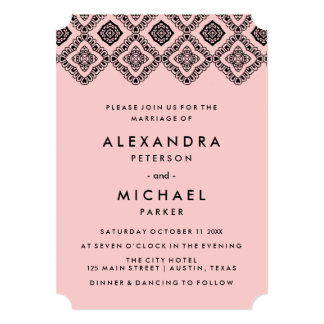 Chic Soft Pink and Black Wedding Eastern Pattern 13 Cm X 18 Cm Invitation Card